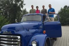 Classic 1954 GMC chassis has been converted into an electric box truck.