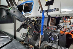 The inside of the electric truck cab.
