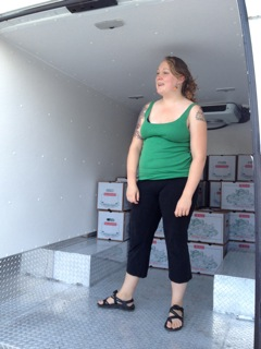 Chelsea pausing a moment while loading truck