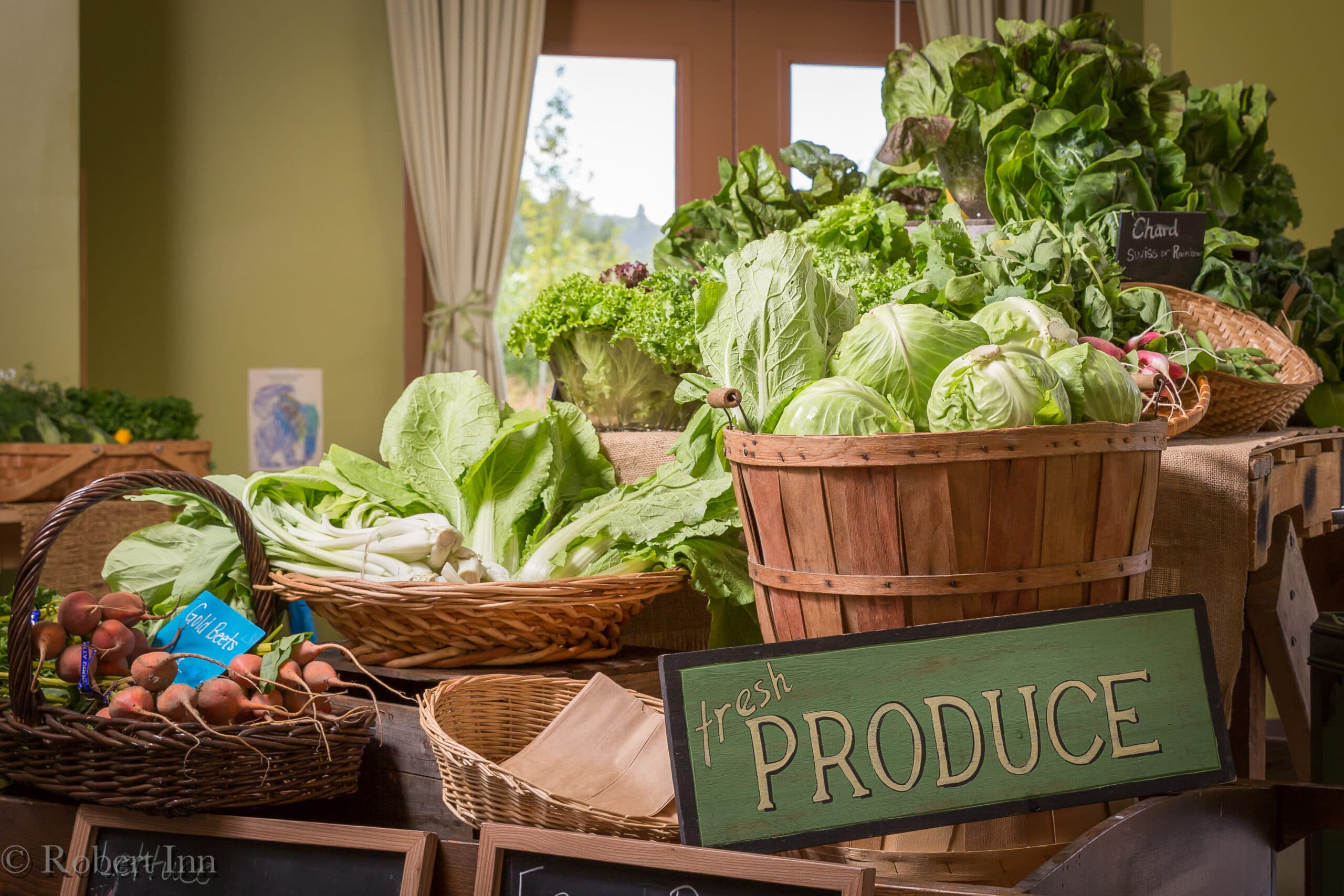 Thanks to Robert Inn Photography for this gorgeous photo of the produce in our Farm Market, including some lovely green cabbages.