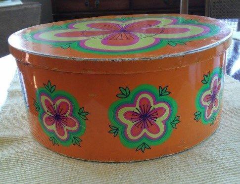 orange cookie tin