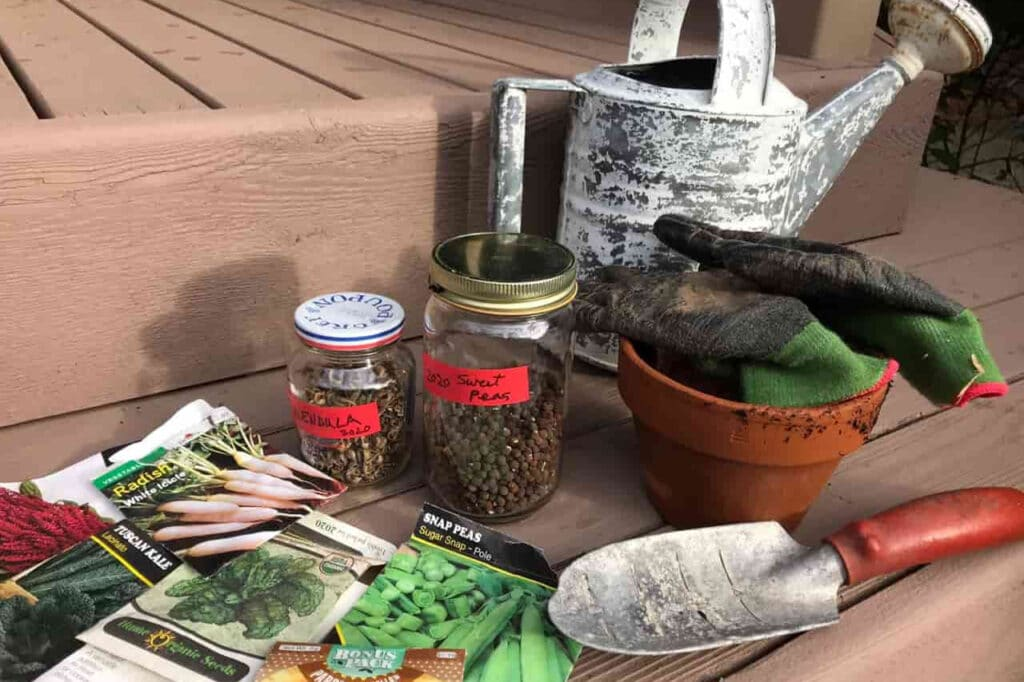 A collection of garden supplies on the front porch: Seeds, watering can, trowel, and more seeds! Seed saving is an important way to help preserve biodiversity.