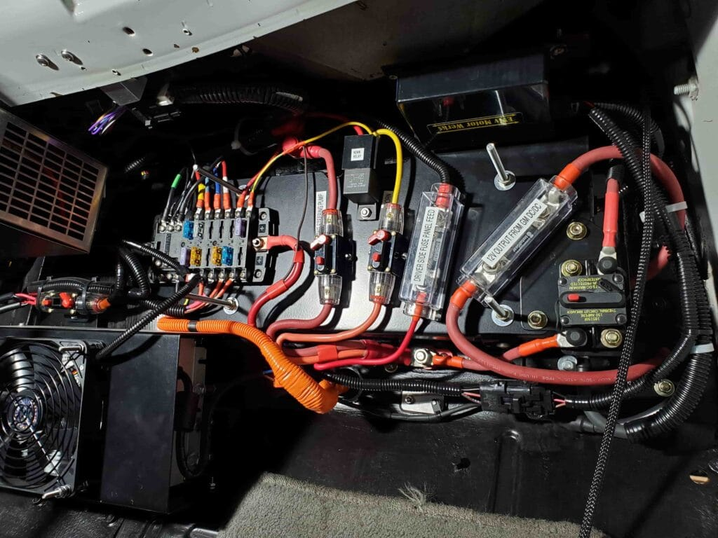 Dashboard wiring for the 21 Acres electric delivery box truck.