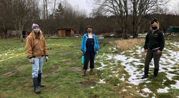 Left to right: Landon Harsch, Angelica Lucchetto, and Jess Chandler. They began this project earlier this winter during snow.