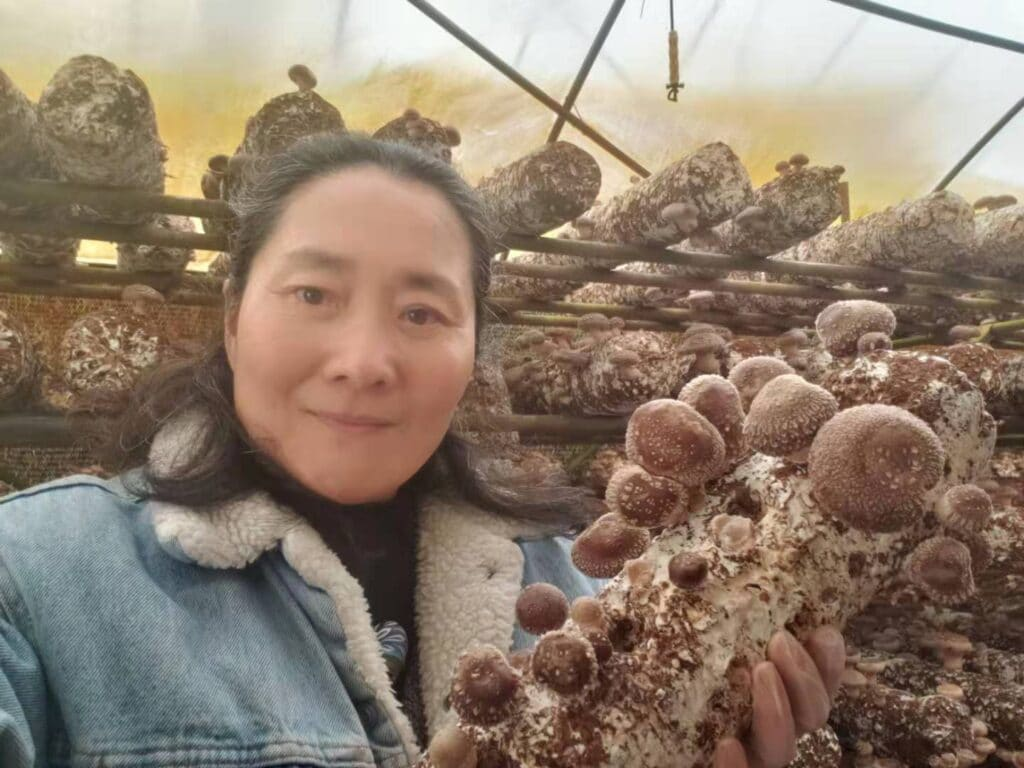 Qi Lou of Dog Island Mushrooms. Women farmers are essential to the local food economy.