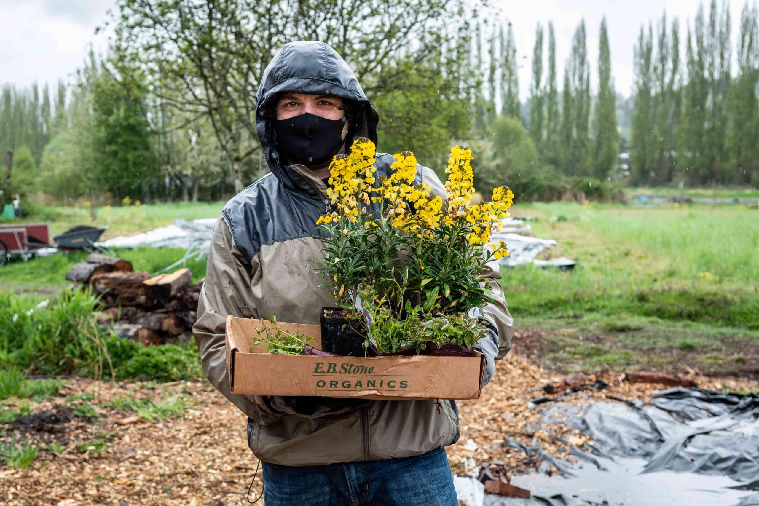 Kevin Sander leads the pollinator garden planting efforts at 21 Acres.