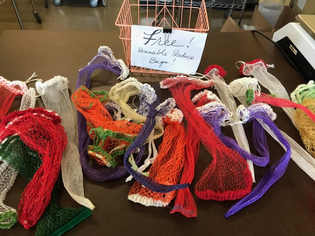 These free bags at the 21 Acres market were made from recycled mesh produce bags.
