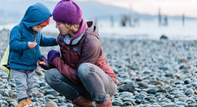 Dr. Sarah Sue Myers and her son expore the Washington beaches in the winter time.