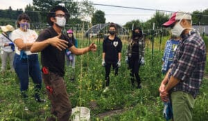 Anthony Reyes leading a farm tour to a group of volunteers who are working on stringing up tomatoes on the farm.